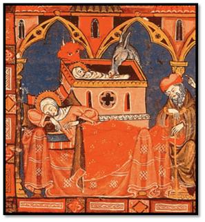 """Miniatura de """"La Grand E General Estoria"""", de Alfonso X El Sabio, siglo XIII"""