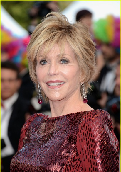 Jane Fonda at Glittery and Glamorous Cannes' Looks On Her Ruby Color