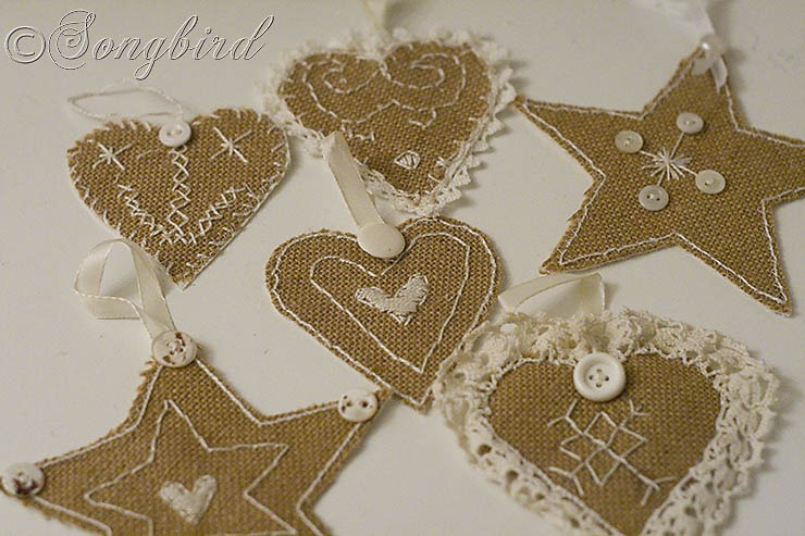 Songbird Burlap Ornaments 4