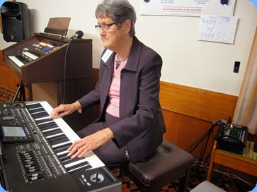 Ann Izzillo playing her Korg Pa3X. Photo courtesy of Dennis Lyons