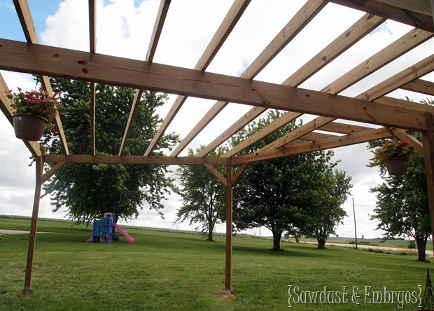 DIY Custom Pergola Tutorial {Sawdust & Embryos}