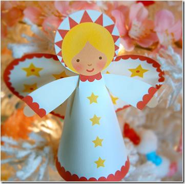 plantilla angel navidad