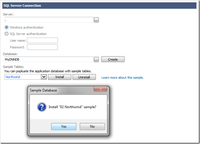 Installing Northwind sample database in the DotNetNuke database.