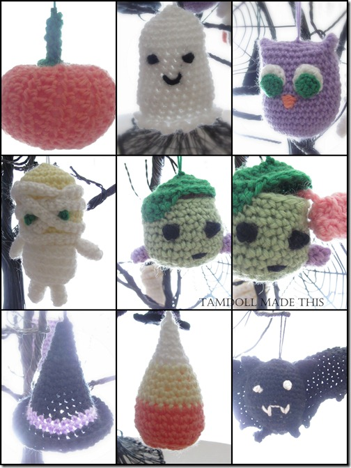 2012 october halloween crochet ornaments by tamdoll