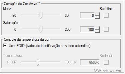 Cor ao vivo: Essa opção permite modificar a matriz, a saturação e controle da temperatura da cor da tela.