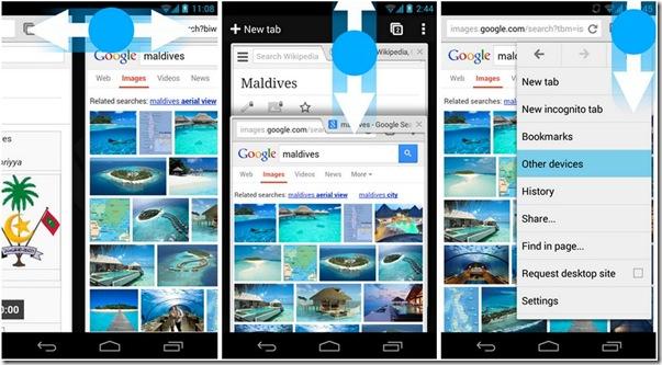 Chrome per Android gesti per schede