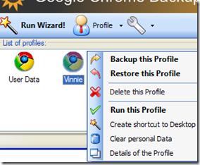Google Chrome Backup menu contestuale per la gestione dei singoli profili