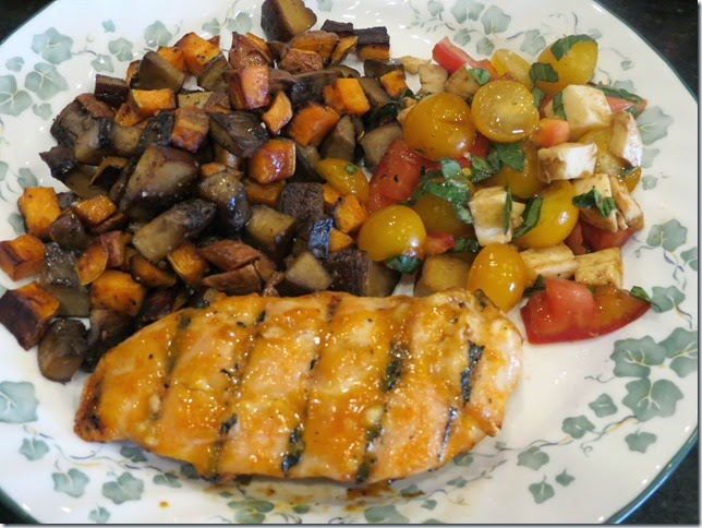 Apricot Glazed Grilled Chicken, Sauteed Sweet Potaotes and Mushrooms with Caprese Salad