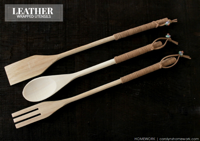 Leather Wrapped Utensils via homework | carolynshomework.com