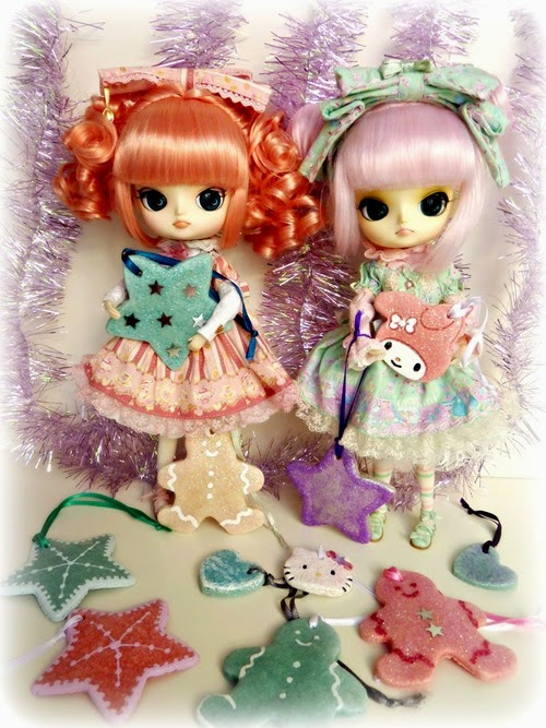 dolls and handmade salt dough xmas ornaments