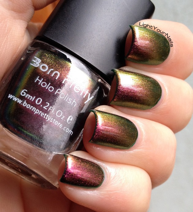 BornPretty Chameleon nail polish 205 over green