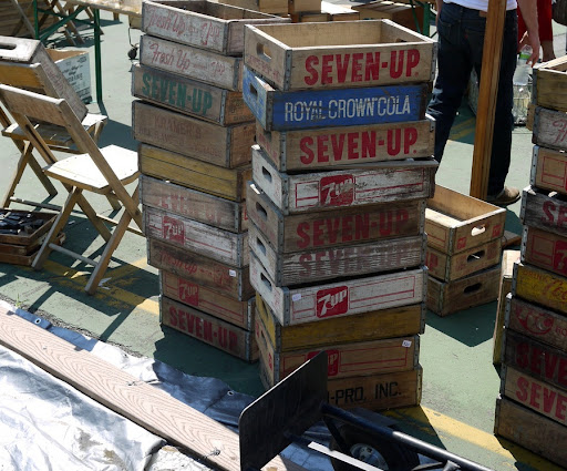 Vintage soda cases would look great stacked up like this in a kids or play room. (brooklynflea.com)