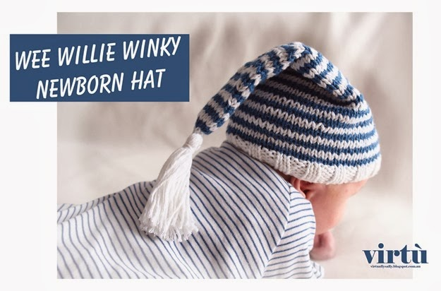 virtù - newborn wee willie winky hat -  virtuallysally.blogspot.com.au