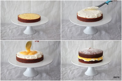 Lemon Coconut Cake assembly by Baking Makes Things Better