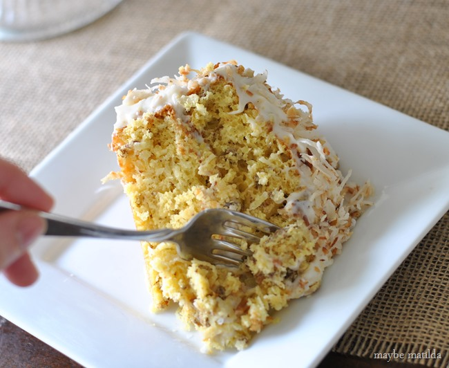 Coconut Pecan Cake with Cream Cheese Frosting // www.maybematilda.com