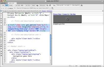 Modifier l'attribut de l'image logo pour personnaliser un thème Wordpress avec Dreamweaver