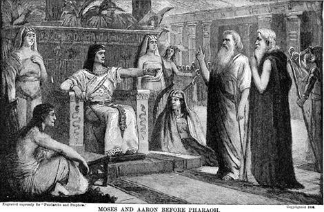 Moisés e Aarão diante do faraó (do site Karen's Whimsy)