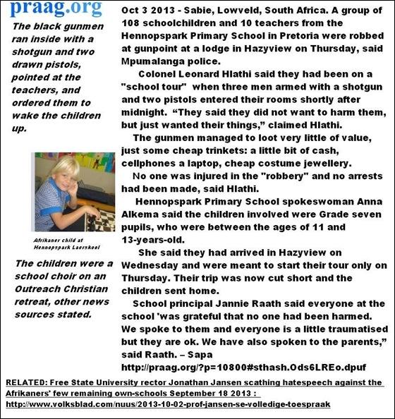 AfrikaansPrimaryKids108AttackedByBlackMaleGunmenSabieAndItsJustAnOrdinaryRobberyhahahha