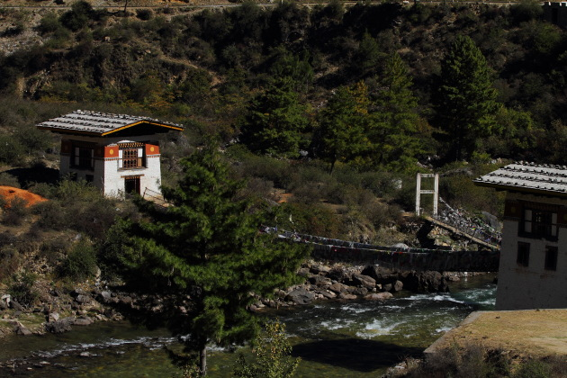 The suspension bridge that leads to Tachogang temple outside Paro, Bhutan