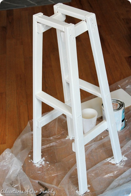white plant stand paint