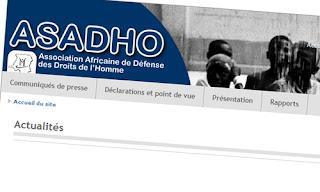 – Impression d'écran de la page d'accueil du site de l'Asadho.