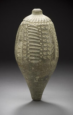 Vase | Origin: North Afghanistan, probably Balkh | Period: 12th century | Collection: Gift of Andrew Hale and Kate Fitz Gibbon (M.86.312.2) | Type: Ceramic; Vessel, Fritware, unglazed, Height: 6 5/8 in. (14.3 cm)