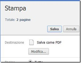 Chrome Salva come PDF pagina internet