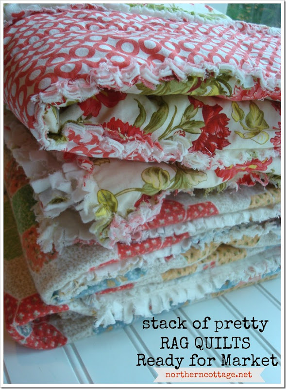 {Northern Cottage} stack of pretty fresh modern RAG Quilts - SALE!!