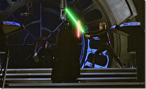 Luke and Darth Vader duel on Death Star