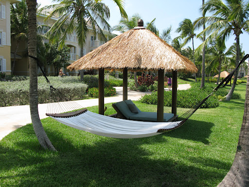 Hammocks and mini lounge huts are scattered across the Sandals Emerald By Resort. Great a little R&R anytime.