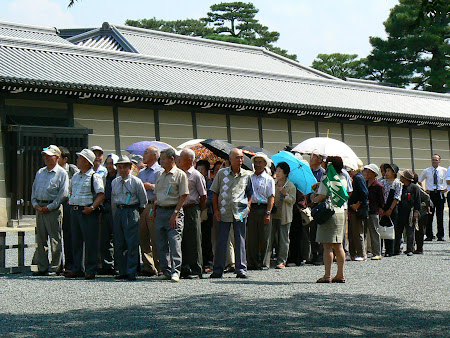 Japanese tourists line at Kyoto Imperial Palace