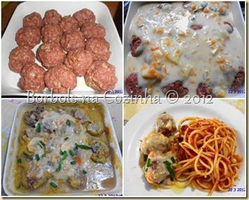 almondegas de carne e aveia com espaguete ao molho de salvia