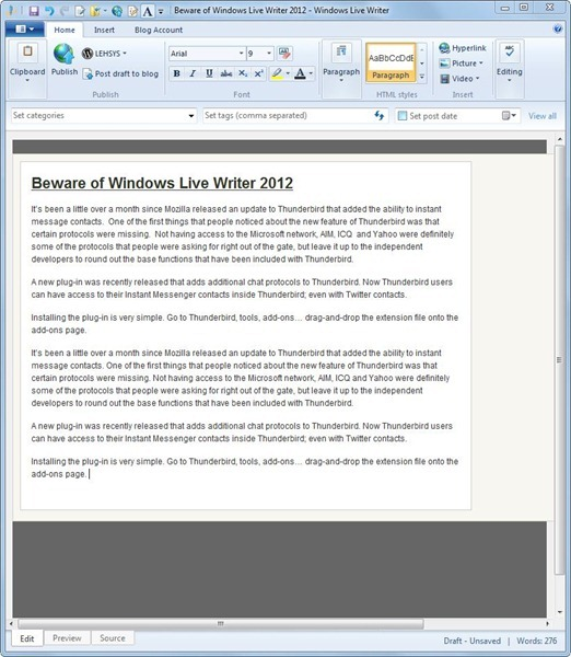 Beware of Windows Live Writer 2012 - Windows Live Writer_2012-10-10_08-26-29