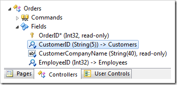 CustomerID field of Orders controller in the Project Explorer.