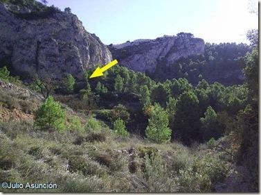 Ubicación de la Cueva de la Moneda desde la Rambla de las Tres Fuentes
