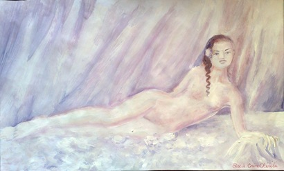 Elise - Muza lui Beethoven - Pictura tempera inspirata de melodia Fur Elise