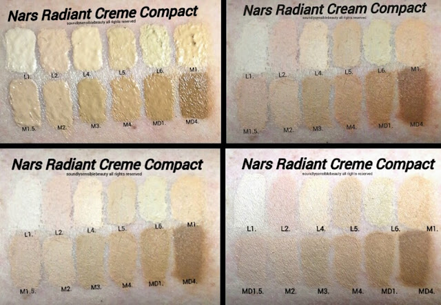 Nars Radiant Cream Compact Foundation Review & Swatches of Shades; Light Medium Deep 1, 1.5, 2, 3, 4, 5, 6,