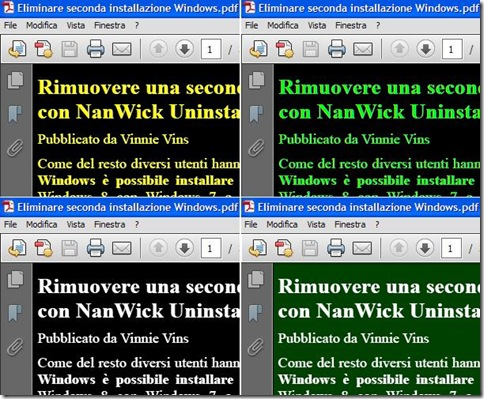Documento PDF con colore testo e sfondo personalizzato