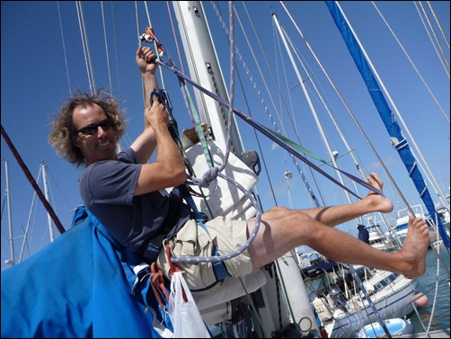Carol in mast climbing mode