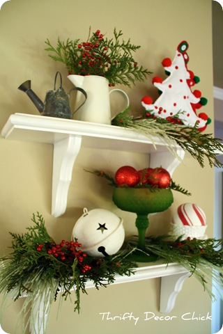 christmas vignette on shelves