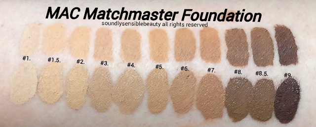 Mac Matchmaster Foundation; Review & Swatches of Shades #1, #1.5, #2, #3, #4, #5, #6, #7, #8, #8.5, #9,