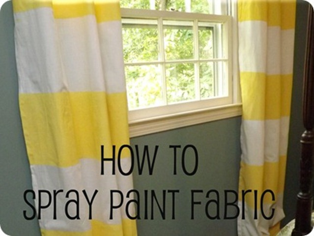 how to spray paint fabric (curtains)