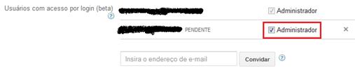 Marque a caixa Administrador - Google Adsense
