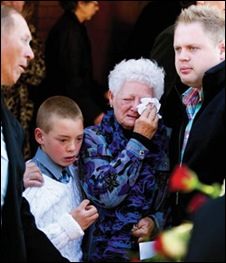 SMIT Bruwer funeral mother Jeanette 74 and grandseun Jaen-dre 10 who saw his SAPS dad shot dead