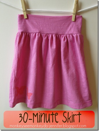 30 Minute Pink Skirt Made from T-shirt  #skirttutorial #easyskirt #DIYskirt