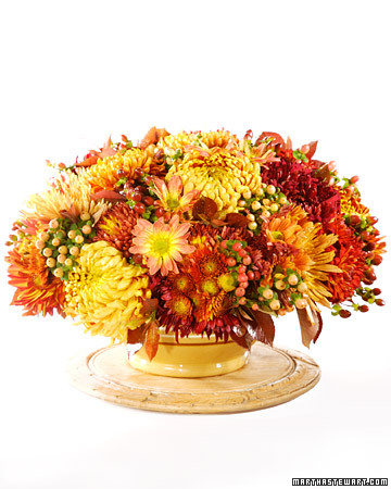 Mums are easy flowers to find -- your local market, garden center, or florist should have them.
