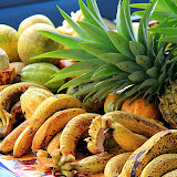 Grapefruit, Bananas, Pineapple, and Cocoa to Sample At Mr. Nice Fruit Stand - Roseau, Dominica