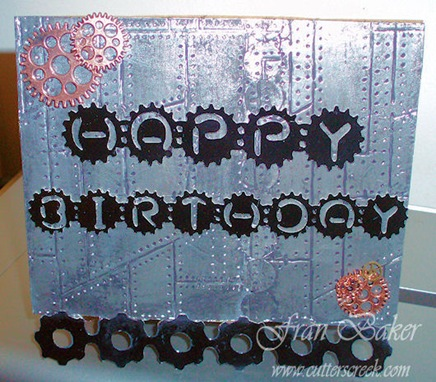 Hpy Bday Gears Card Front With Gears Embellishment