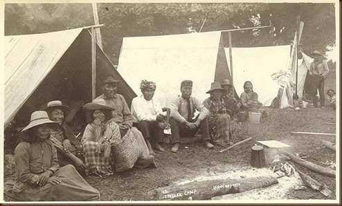 Puget Sound area tent camp with hop pickers, Washington, ca. 1893.