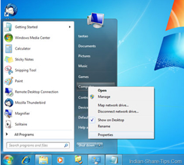 Windows 7 screen shot showing control panel location